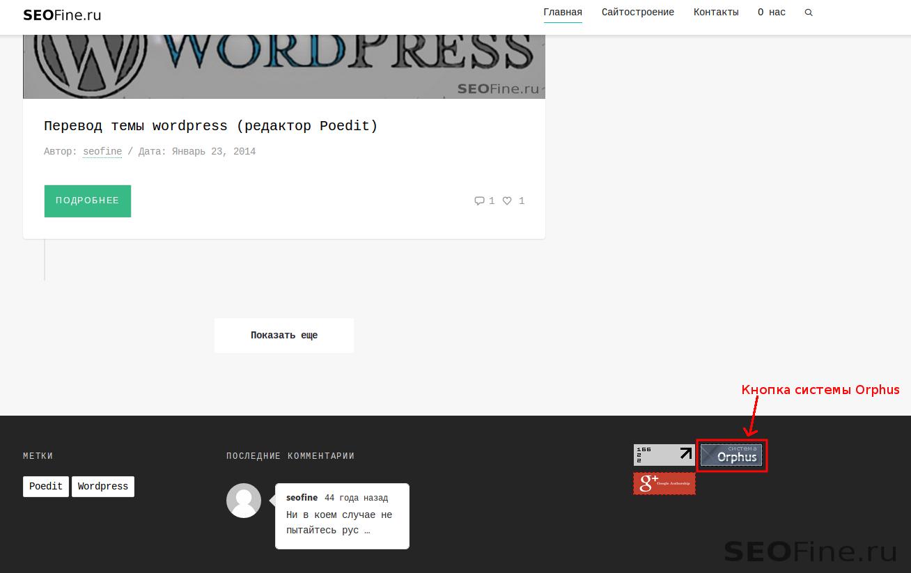 Кнопка системы Orphus на моем блоге