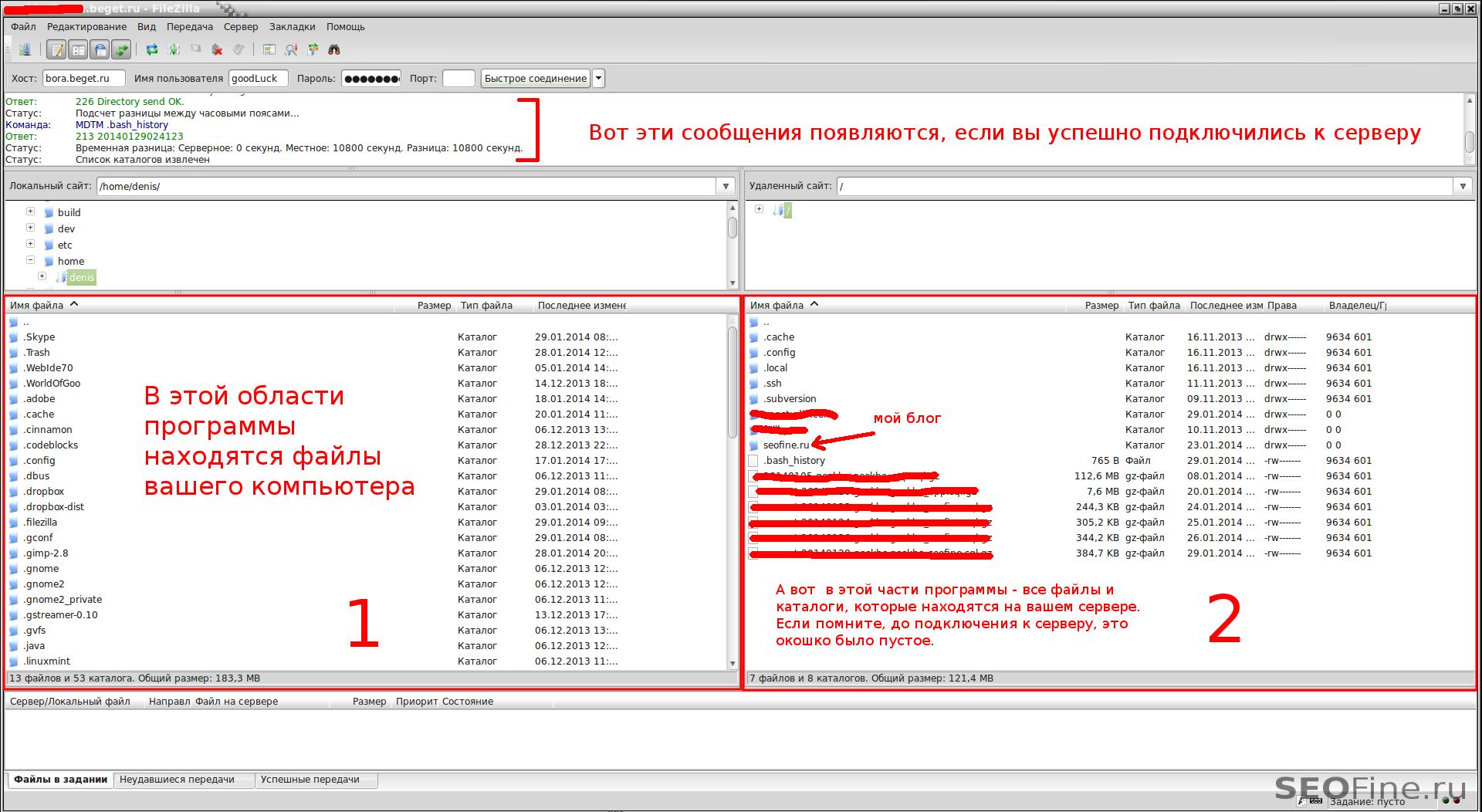 Успешное подключение FileZilla