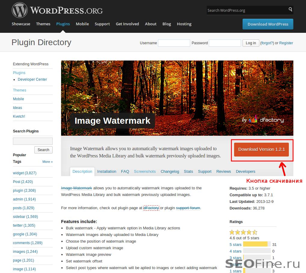 Установить плагин в Wordpress