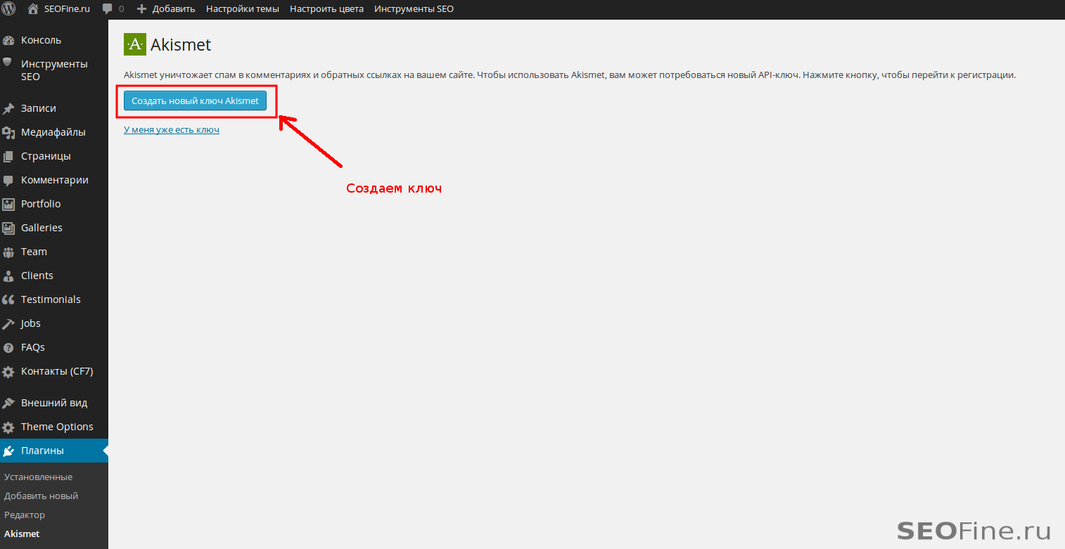 Создаем API-ключ Akismet