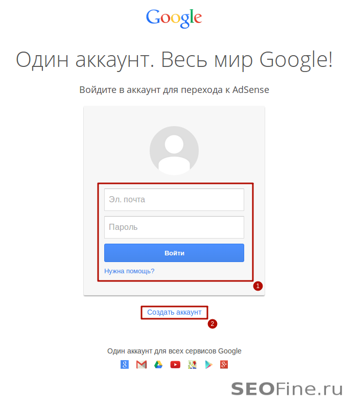 Авторизация в AdSense